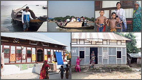 Villagers on their Char on the Meghna river, Bangladesh