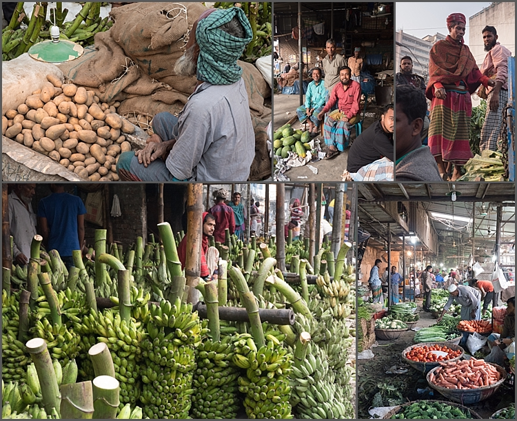 Vegetables for sale at Kawran Bazaar, Dhaka