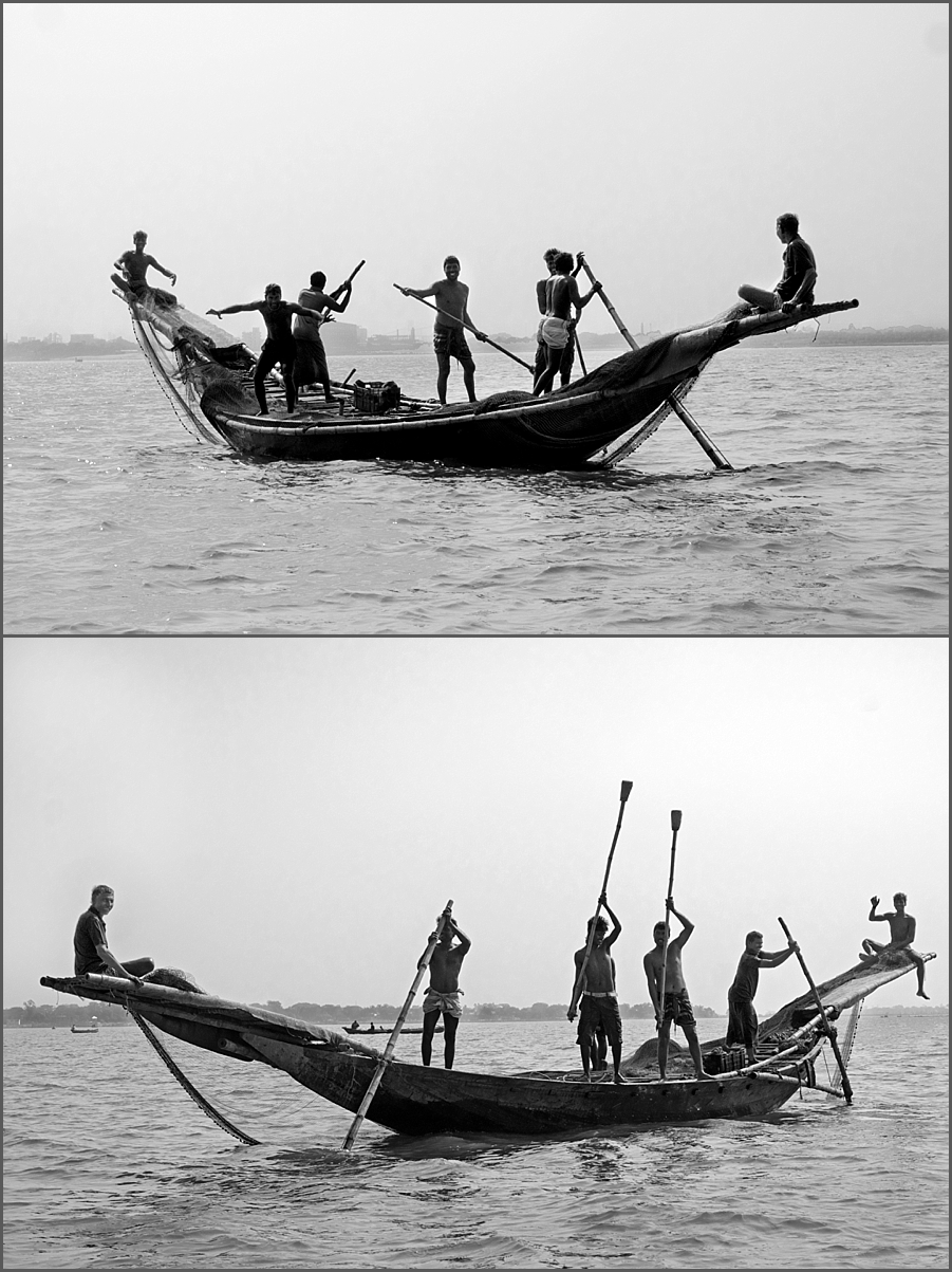 Fishermen on the river Meghna.