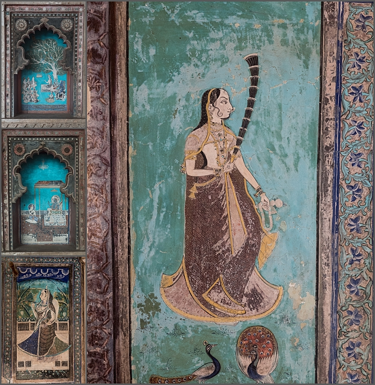Wall art in the palace at Bundi