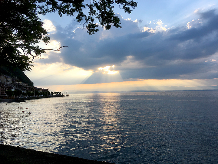 Beginning of a sunset over Lake Geneva by Meillerie