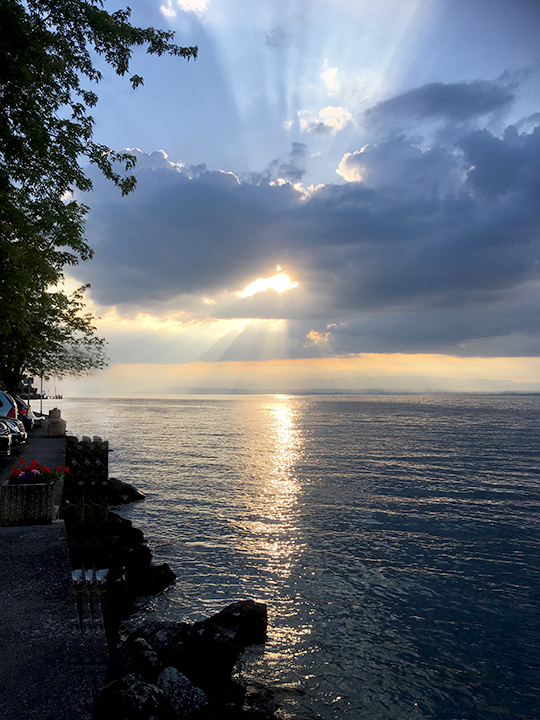 Sunset over Lake Geneva by Meillerie quay