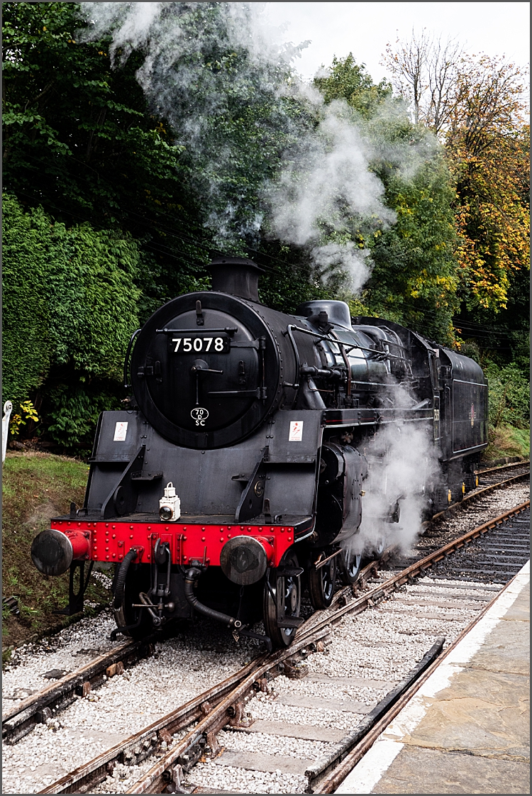 Engine 75078 at Oxenhope station by Maggie Booth Photography