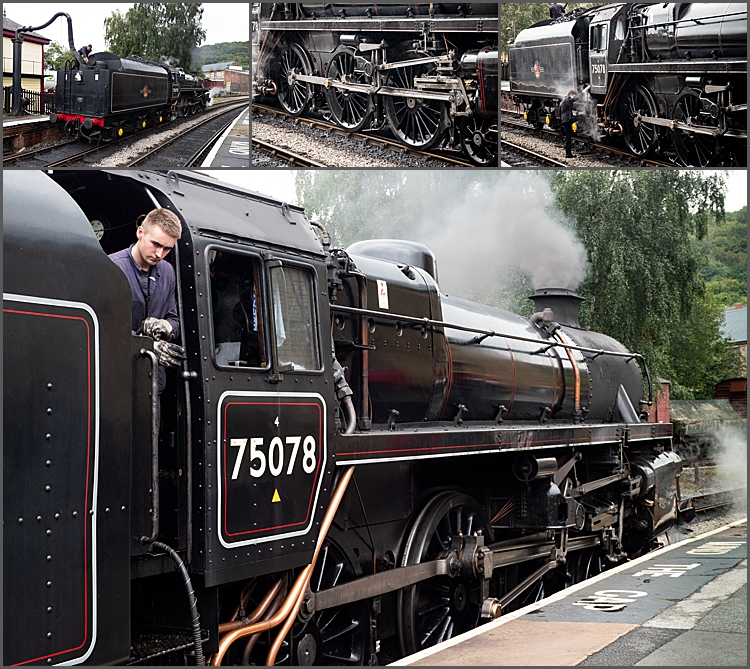 Engine 75078 at Keighley taking on water by Maggie Booth Photography