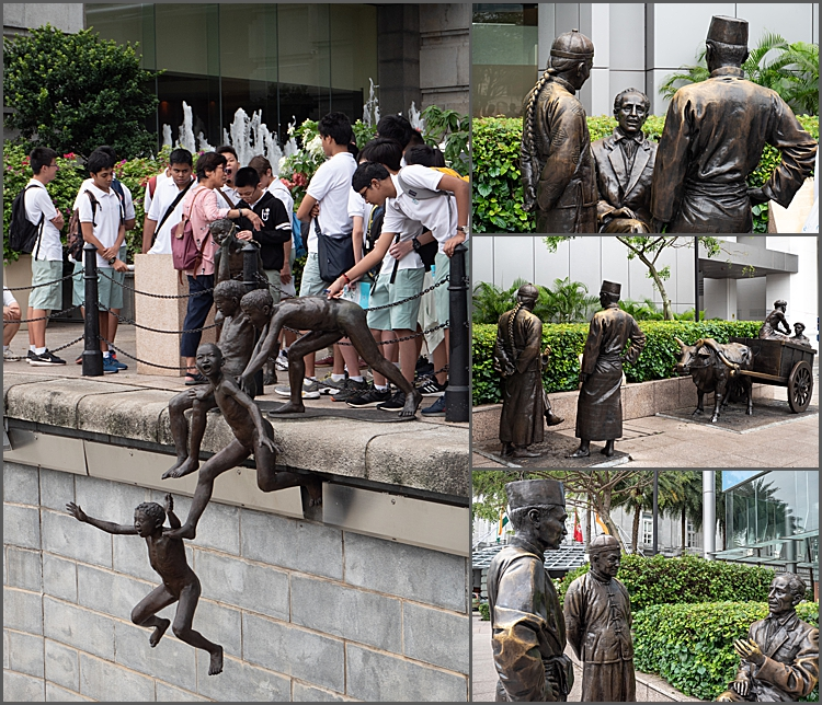 The statues along the Boat Quay, Singapore