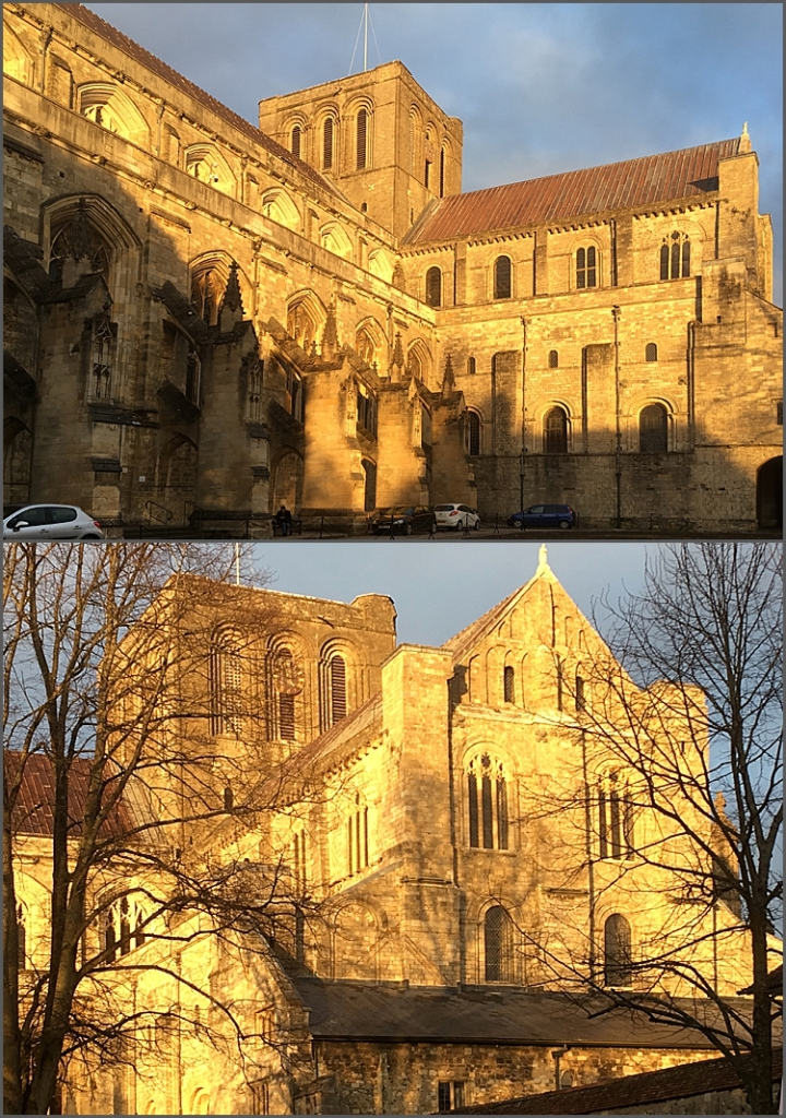 Evening sunlight on Winchester cathedral, Wilts