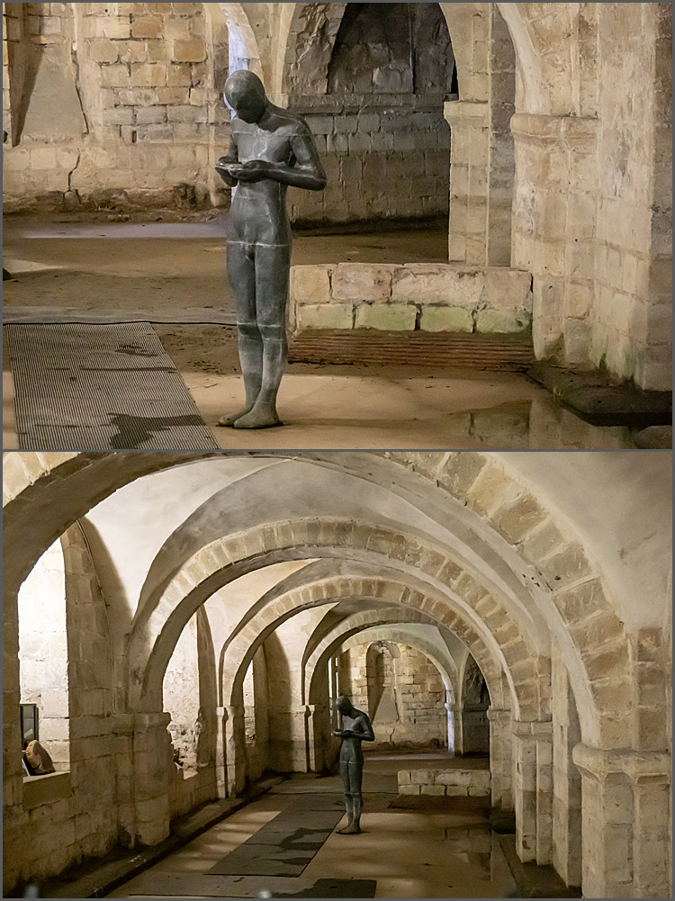 Crypt in Winchester cathedral and Anthony Gormley's statue