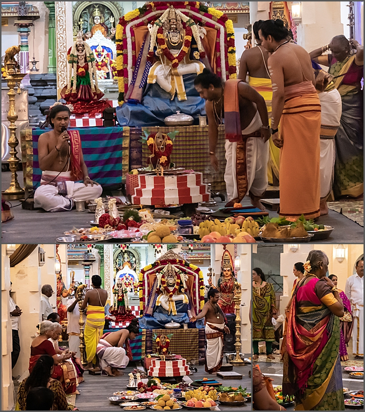 Food at the wedding ceremony at Sri Mariamman Temple, Singapore