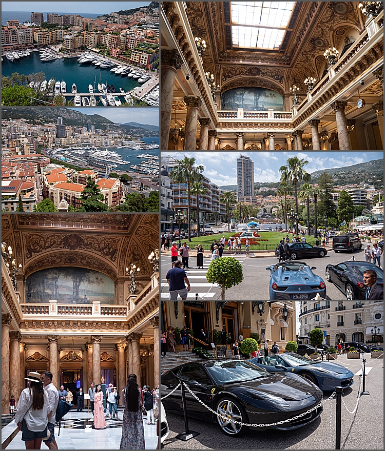 Two views of the harbour; inside the atrium of the casino; outside The Casino of Monte-Carlo