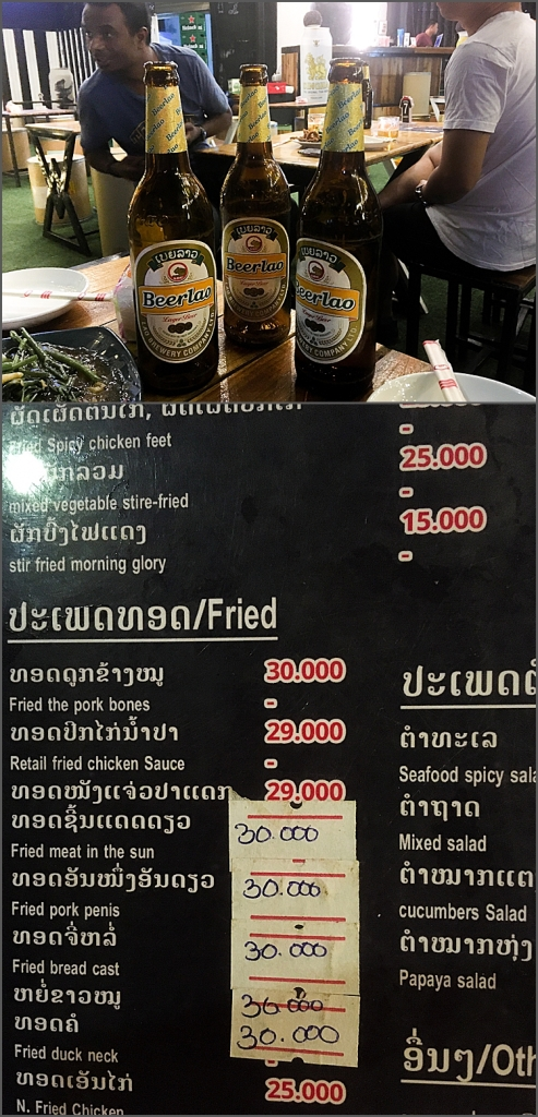 Beer lao bottles and Laotian menu